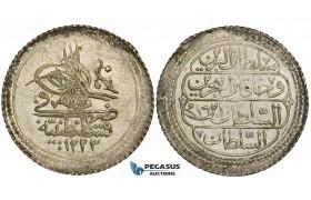 ZD94, Ottoman Empire, Turkey, Mahmud II, 5 Para AH1223/14, Kostantiniye, Silver (1.64g) About Toned XF-UNC
