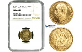 ZE05, Danish West Indies, Christian IX, 4 Daler/20 Francs 1904, Copenhagen, Gold, NGC MS64PL (Rare designation)
