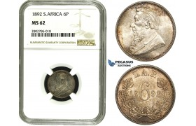 ZE25, South Africa (ZAR) Sixpence (6 Pence) 1892, Silver, NGC MS62