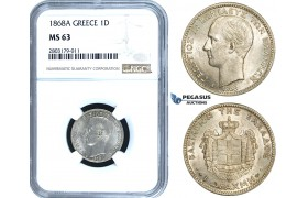 ZE48, Greece, George I, Drachm 1868-A, Paris, Silver, NGC MS63