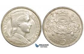 ZE52, Latvia, 5 Lati 1931, Silver, Lustrous XF-UNC