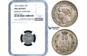 ZE59, Serbia, Milan I. Obrenovic, 50 Para 1875, Silver, NGC UNC Details