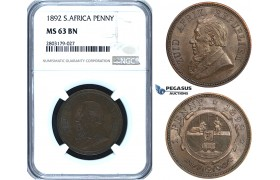 ZE60, South Africa (ZAR) Penny 1892, NGC MS63BN