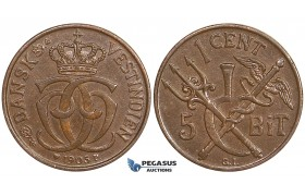ZE71, Danish West Indies, Christian IX, 1 Cent (5 Bit) 1905, Copenhagen, Brown, AU