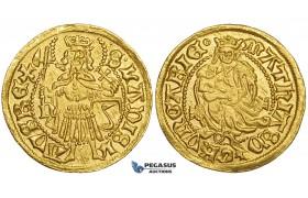 ZE74, Hungary, Matthias Corvinus, Goldgulden ND (1482-88) n-, Nagybanya, Gold (3.53g) UNC