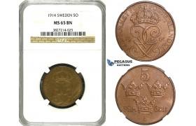 ZE75, Sweden, Gustaf V, 5 Öre 1914, Stockholm, SM 182, NGC MS65BN (Pop 1, No finer!)