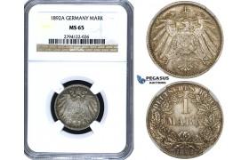 ZE89, Germany, Empire, Wilhelm II, 1 Mark 1892-A, Berlin, Silver, NGC MS65