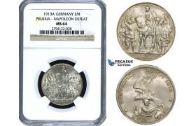 ZE91, Germany, Prussia, Wilhelm II, 2 Mark 1913 (Napoleons Defeat) Silver, NGC MS64