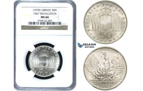 ZE93, Greece, 50 Drachmai 1967 (1970) Silver, NGC MS66