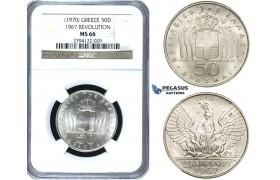 ZE93, Greece, 50 Drachmai 1967 (1970) Silver, NGC MS66