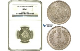 ZE96, Japan, Meiji, 20 Sen Year 31 (1898) Silver, NGC MS62