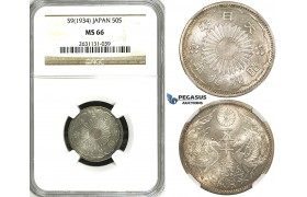 ZE97, Japan, Showa, 50 Sen Year 9 (1934) Silver, NGC MS66