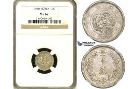 ZE99, Korea, Sunjong, 10 Chon Year 4 (1910) Silver, NGC MS62