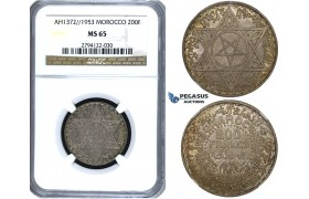 ZF02, Morocco, Mohammed V, 200 Francs 1953, Paris, Silver, NGC MS65