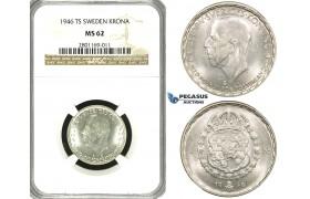 ZF11, Sweden, Gustaf V, 1 Krona 1946 TS, Stockholm, Silver, NGC MS62