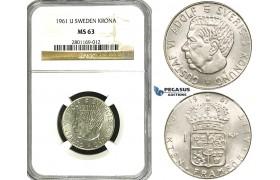 ZF12, Sweden,Gustaf VI Adolf, 1 Krona 1961 U, Stockholm, Silver, NGC MS63