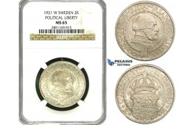 ZF15, Sweden, Gustaf V, 2 Kronor 1921 W (Political Liberty) Stockholm, Silver, NGC MS65