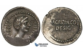 ZF25, Roman Imperatorial, The Triumvirs, Octavian and Agrippa (38 BC) AR Denarius (3.93g). Military mint, gVF-EF, flaws, off-centered, Rare!