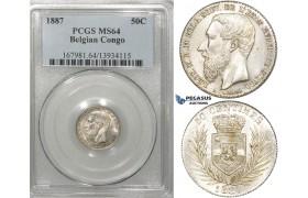ZF32, Belgian Congo, Leopold II, 50 Centimes 1887, Silver, PCGS MS64