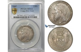 ZF33, Belgian Congo, Leopold II, 2 Francs 1887, Silver, PCGS MS62