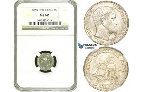 ZF36, Danish West Indies, Frederik VII, 5 Cents 1859, Silver, NGC MS62