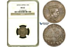 ZF39, Eritrea, Umberto I, 50 Centesimi 1890-M, Milan, Silver, NGC MS62