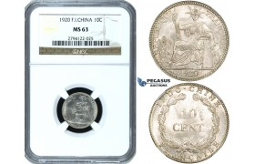 ZF41, French Indo-China (Vietnam) 10 Centimes 1920, Philadelphia, Silver, NGC MS63