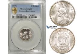 ZF42, German East Africa (DOA) Wilhelm II, 1/4 Rupie 1891, Silver, PCGS MS63+