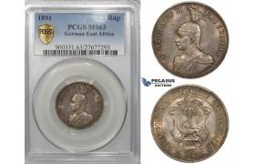 ZF43, German East Africa (DOA) Wilhelm II, 1/2 Rupie 1891, Silver, PCGS MS63