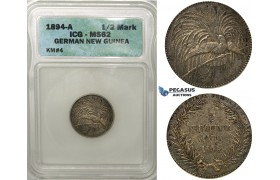 ZF44, German New Guinea, 1/2 Mark 1894-A, Berlin, Silver, ICG MS62 (Bird of paradise)