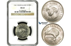 ZF46, New Zealand, George VI, Florin 1941, Silver, NGC MS64 (Pop 1/3, No finer!)