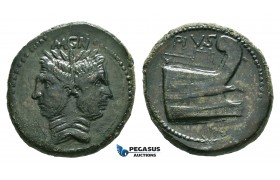 ZF49, Roman Imperatorial, Sextus Pompeius (d. 35 BC) Æ As (22.23g) Spain and Sicily, 42-38 BC, Dark green patina, VF-EF,  Good details!
