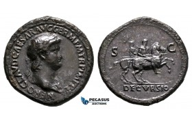 ZF50, Roman Empire, Nero (54-68 AD) Æ Sestertius (25.51g) Rome, 63 AD, Soldiers on Horseback, Dark brown patina, VF (Smoothing)