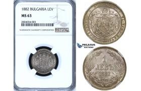 ZF56, Bulgaria, Alexander I, 1 Lev 1882, St. Petersburg, Silver, NGC MS63