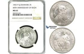 """ZF59, Denmark, Christian XI, 2 Kroner 1903 """"40th Ann. of Reign"""" Copenhagen, Silver, NGC MS63"""