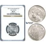 ZF61, France, Third Republic, 2 Francs 1871-K, Bordeaux, Silver, NGC MS62