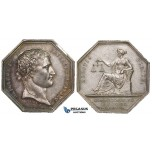 ZF63, France, Napoleon I, Octagonal Silver Medal by Tiolier (17.31g) Undated, Justitia Seated, XF