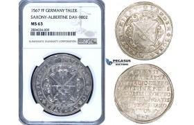 ZF65, Germany, Saxony-Albertine, Duke August, Taler 1567 HB, Dresden, Silver, NGC MS63, Pop 1/0, Finest!