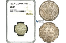 ZF66, Germany, Wilhelm II, 1 Mark 1909-A, Berlin, Silver, NGC MS64