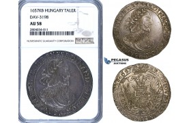 ZF69, Hungary, Ferdinand III, Taler 1657-KB, Kremnitz, Silver, NGC AU58, Pop 2