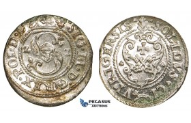 ZF72, Latvia, Sigismund III of Poland, Solidus 1621, Riga, Billon, Lustrous UNC (Verdigris spots)