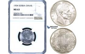 ZF92, Serbia, Petar I, 1 Dinar 1904, Silver, NGC MS63, Pop 1/0