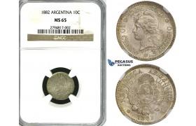 ZF98, Argentina, 10 Centavos 1882, Silver, NGC MS65, Pop 1/1, No finer!
