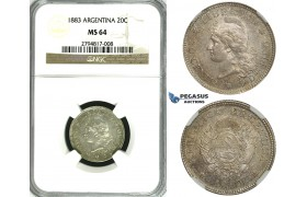 ZF99, Argentina, 20 Centavos 1883, Silver, NGC MS64