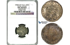"""ZG06, Italy, Papal, Pius IX, 10 Baiocchi 1858-R XIII, Rome, Silver, NGC UNC Details """"Scratches"""""""