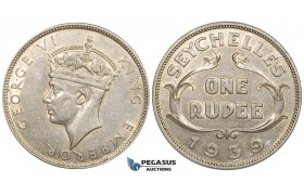 ZG10, Seychelles, George VI, Rupee 1939, Silver, Lustrous XF-UNC (Min. hairlines)