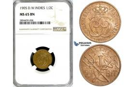 ZG21, Danish West Indies, Christian IX, 1/2 Cent (2-1/2 Bit) 1905, Copenhagen, NGC MS65BN