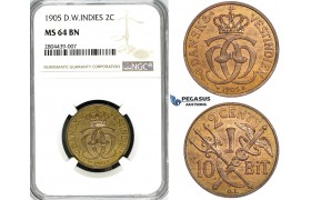 ZG22, Danish West Indies, Christian IX, 2 Cents (10 Bit) 1905, Copenhagen, NGC MS64BN