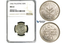ZG24, Palestine, 50 Mils 1942, Silver, NGC MS61