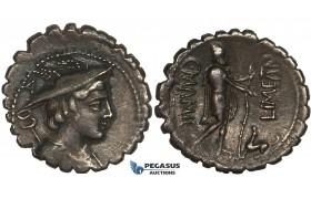 ZG25, Roman Republic, C. Mamilius Limetanus (82 BC) AR Denarius Serratus (3.95g) Rome, Ulysses, Dark Patina, EF (Lt. smoothing)
